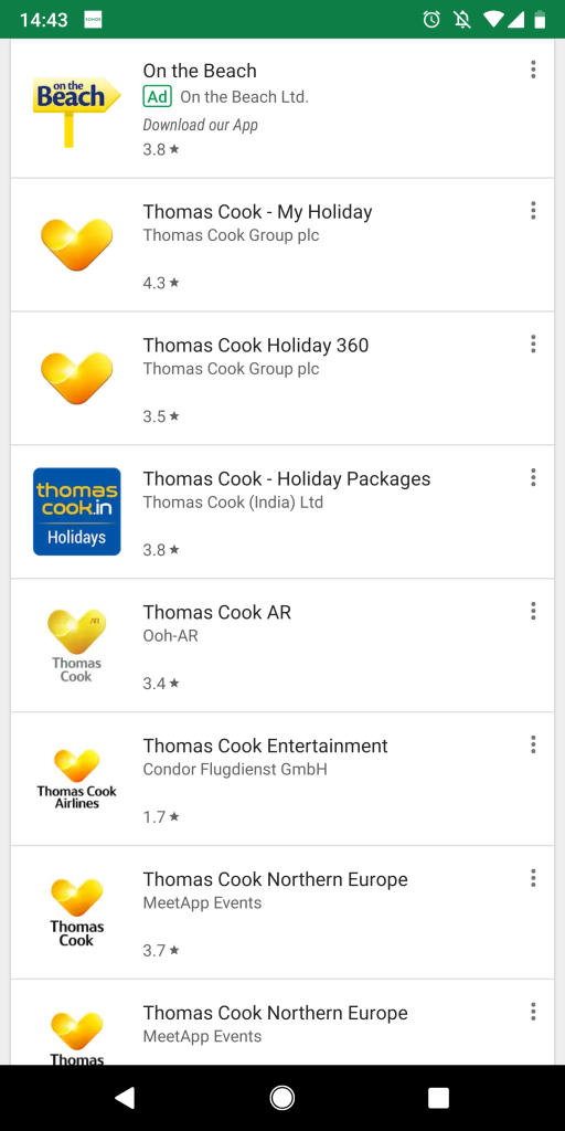 Thomas Cook Holiday app