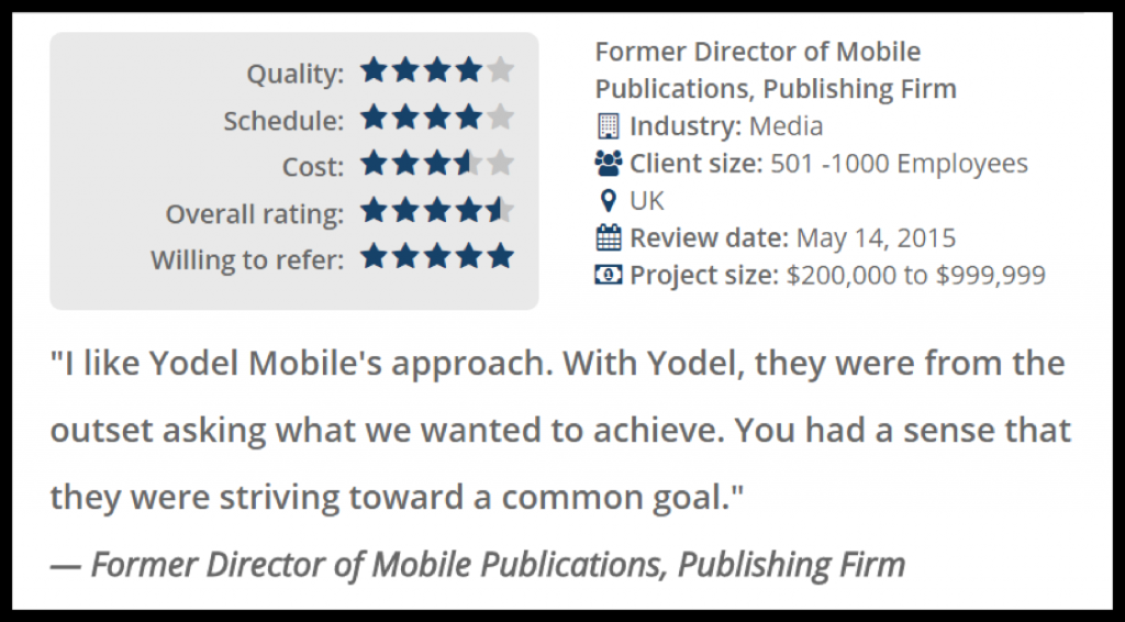 yodel clutch mobile marketing quote
