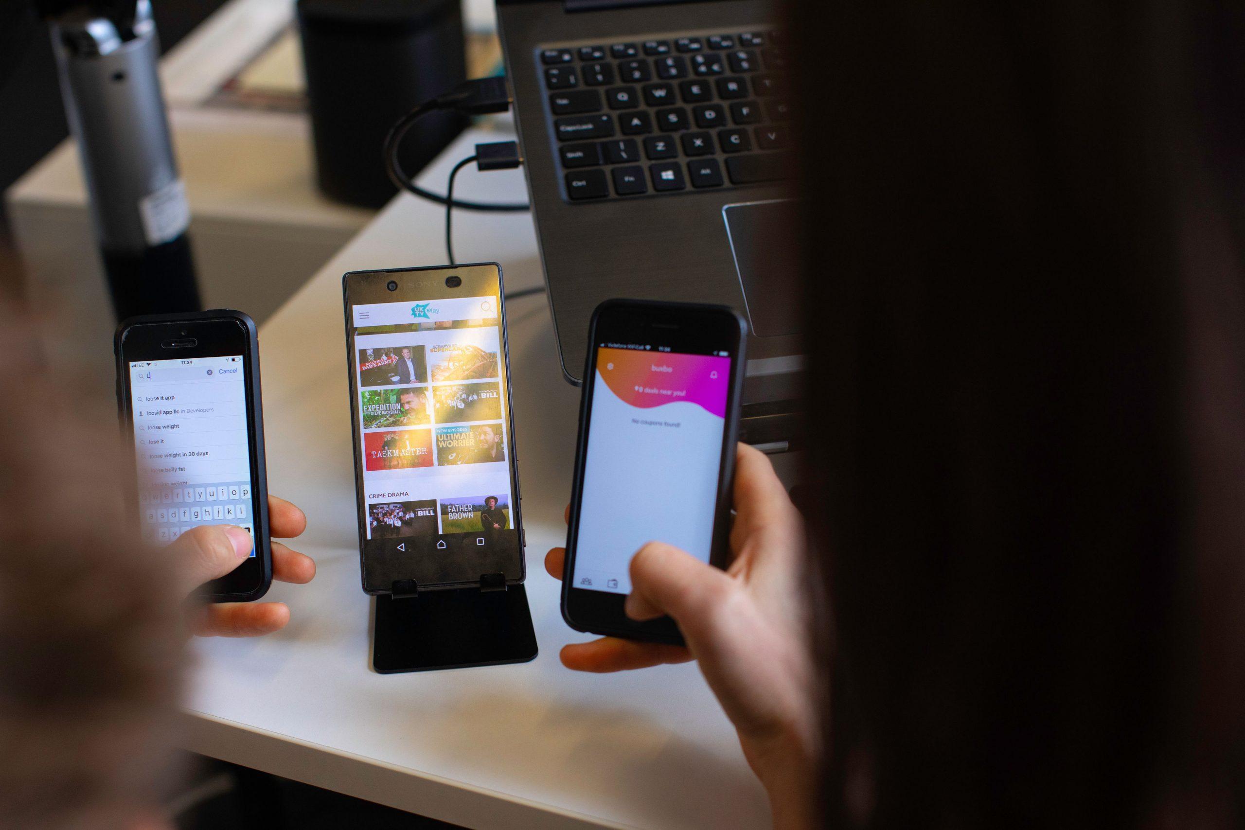 smartphones with app user journey